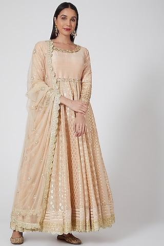 Ash Rose Embroidered Anarkali Set by Priyanka Jain