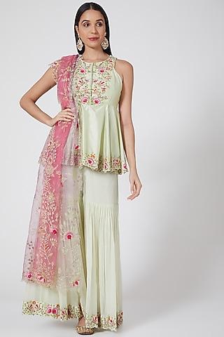 Mint Green Embroidered Sharara Set by Priyanka Jain