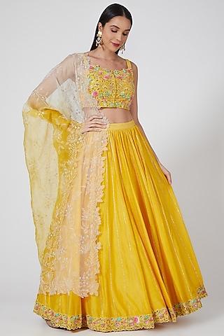 Yellow Embroidered Lehenga Set by Priyanka Jain