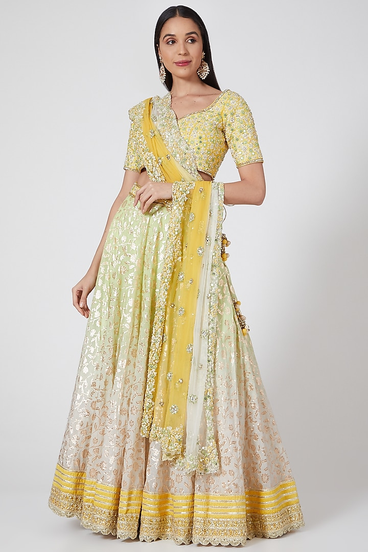 Yellow Ombre Embroidered Lehenga Set by Priyanka Jain