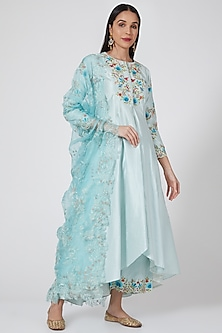 Turquoise Embroidered High-Low Kurta Set by Priyanka Jain-POPULAR PRODUCTS AT STORE