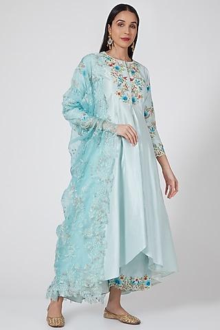 Turquoise Embroidered High-Low Kurta Set by Priyanka Jain