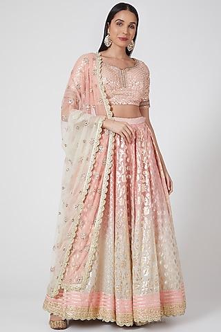 Peach Ombre Embroidered Lehenga Set by Priyanka Jain