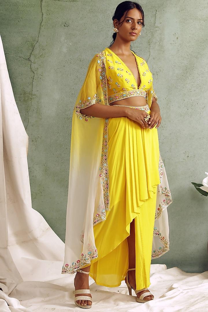 Yellow High-Low Draped Skirt Set by Priyanka Jain