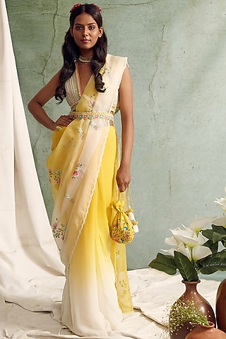 Yellow Ombre Saree Set by Priyanka Jain