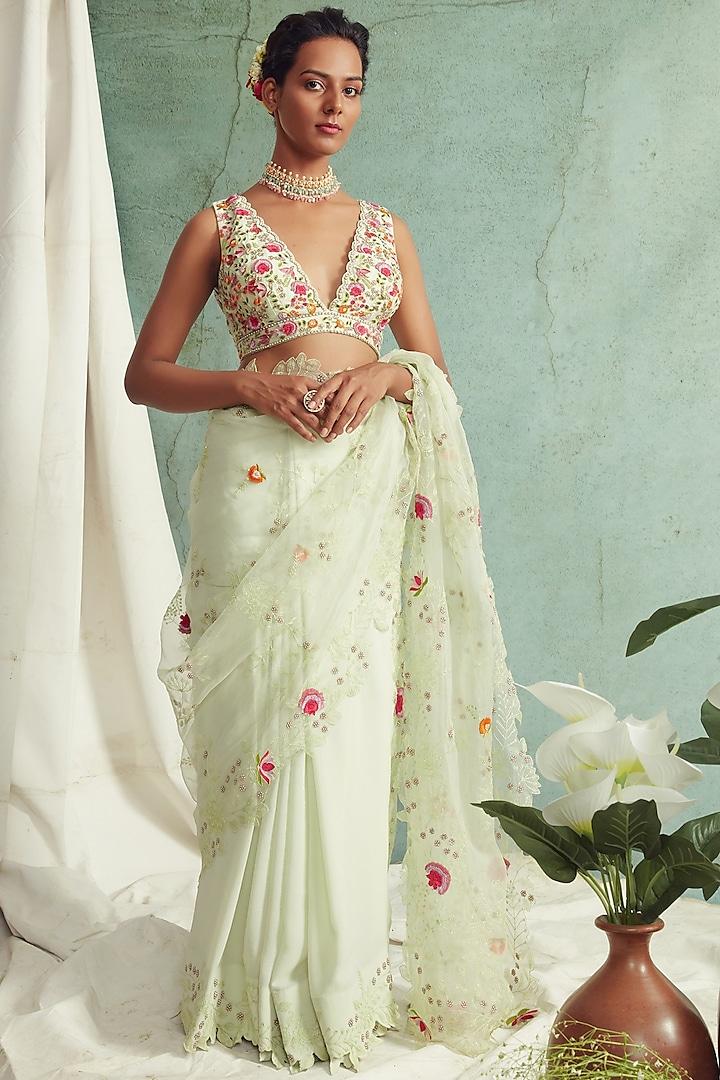 Mint Green Embroidered Saree Set by Priyanka Jain