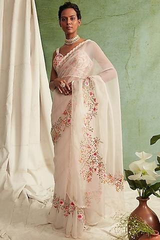 Blush Pink Embroidered Saree Set by Priyanka Jain