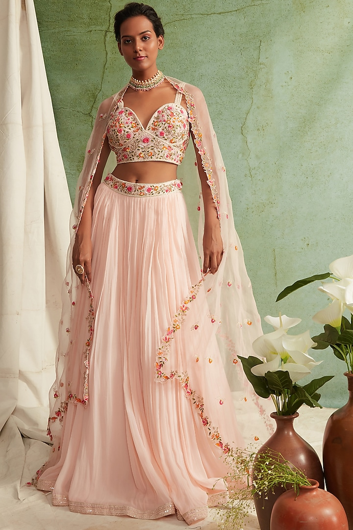 Blush Pink Embroidered Pleated Lehenga Set by Priyanka Jain