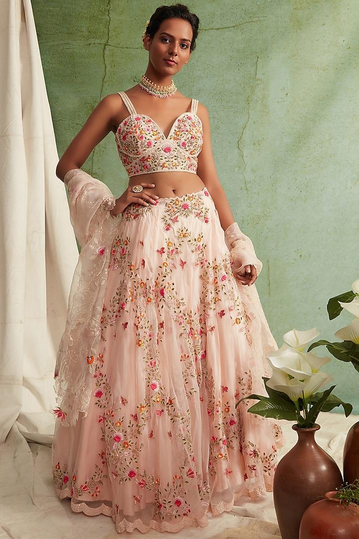 Blush Pink Embroidered Lehenga Set by Priyanka Jain