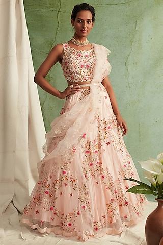 Blush Pink Zardosi Embroidered Lehenga Set by Priyanka Jain