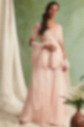 Blush Pink Embroidered Sharara Set by Priyanka Jain