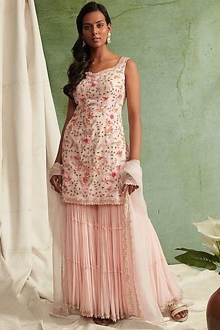 Blush Pink Zardosi Embroidered Sharara Set by Priyanka Jain