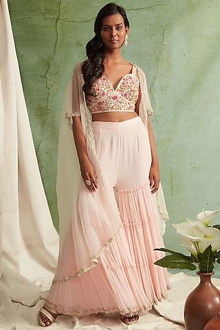 Blush Pink Sharara Set With Zardosi Embroidery by Priyanka Jain