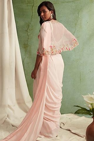 Blush Pink Embroidered Pre-Draped Saree Set by Priyanka Jain