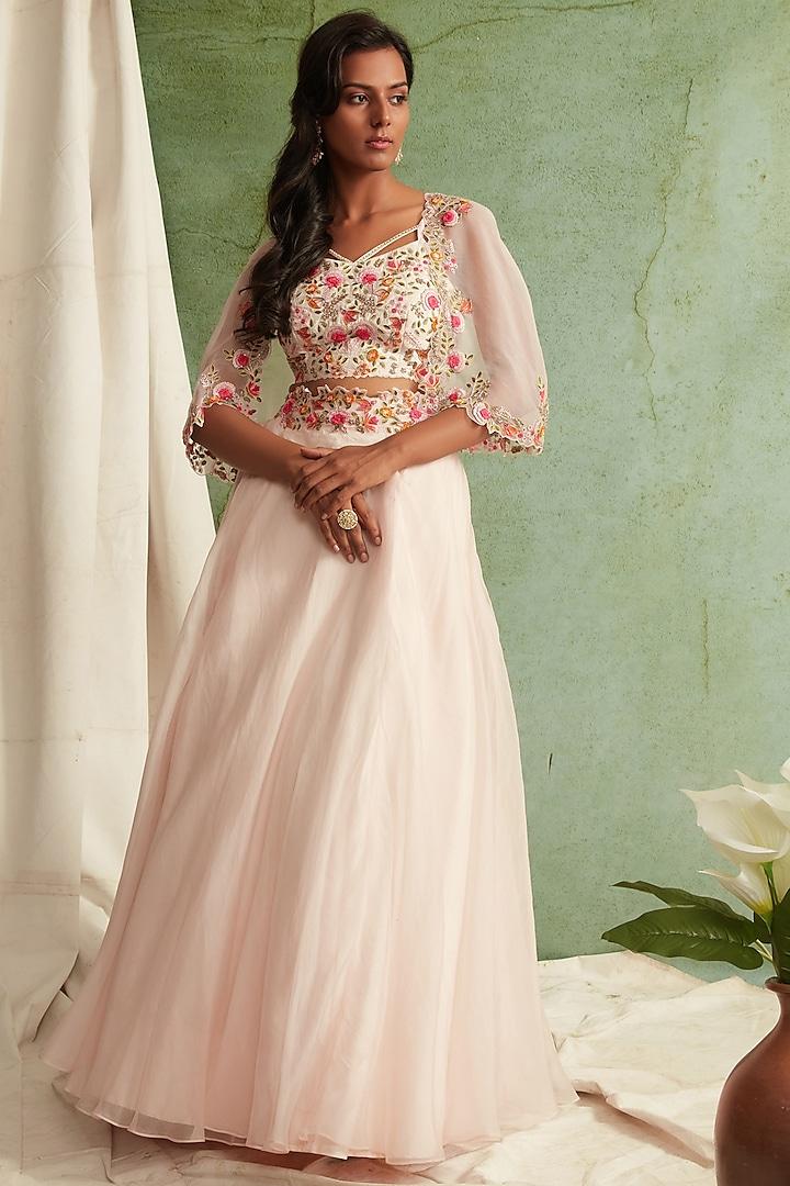 Blush Pink Chanderi Embroidered Lehenga Set by Priyanka Jain