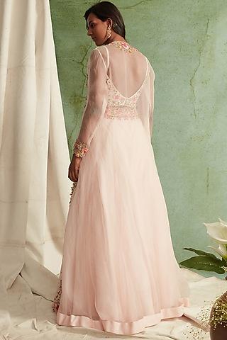 Blush Pink Organza Embroidered Lehenga Set by Priyanka Jain