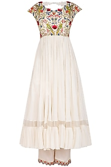 Ivory Embroidered Anarkali Set by Priyanka Jain