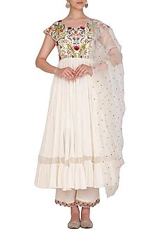 Ivory Embroidered Anarkali Set by Priyanka Jain