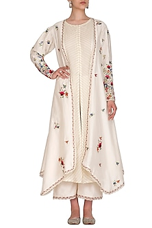 Ivory Embroidered Jacket With Kurta & Palazzo Pants by Priyanka Jain