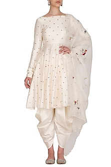 Ivory Polka Dot Embroidered Kurta Set by Priyanka Jain