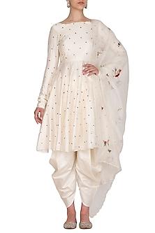 Ivory Polka Dot Embroidered Kurta Set by Priyanka Jain