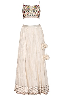 Ivory Embroidered Crop Top With Lehenga Skirt by Priyanka Jain