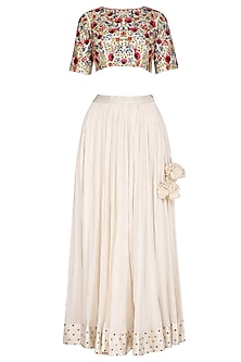 Ivory Embroidered Lehenga Set by Priyanka Jain