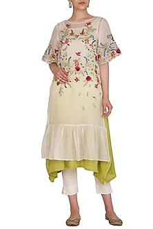 Ivory Embroidered Kurta With Palazzo Pants & Inner by Priyanka Jain