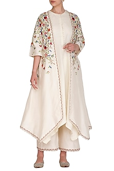Ivory Embroidered Striped Jacket With Kurta & Palazzo Pants by Priyanka Jain