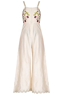 Ivory Embroidered Jumpsuit by Priyanka Jain