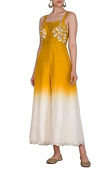 Yellow Embroidered Ombre Jumpsuit by Priyanka Jain