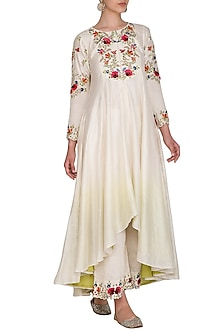 Ivory Embroidered Kurta With Striped Palazzo Pants by Priyanka Jain