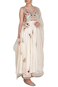 Ivory Embroidered Striped Anarkali Set by Priyanka Jain