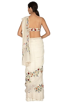 Ivory Embroidered Saree Set by Priyanka Jain