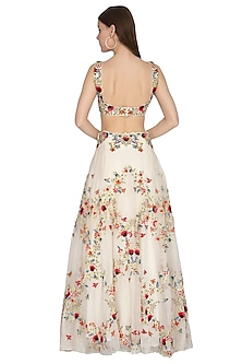 Ivory Striped Embroidered Lehenga Set by Priyanka Jain