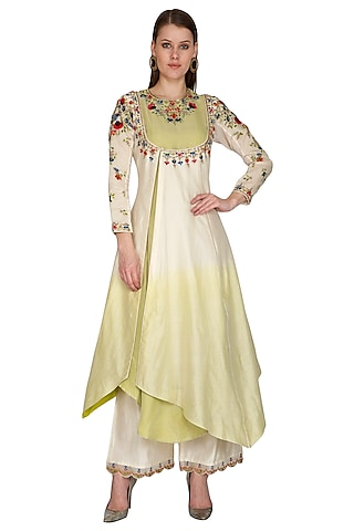 Ivory Embroidered Ombre Dyed Kurta With Palazzo Pants by Priyanka Jain