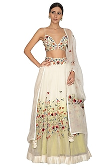 Ivory Mix & Match Embroidered Lehenga Set by Priyanka Jain