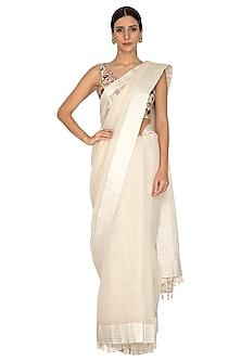 Ivory Embroidered Striped Saree Set by Priyanka Jain