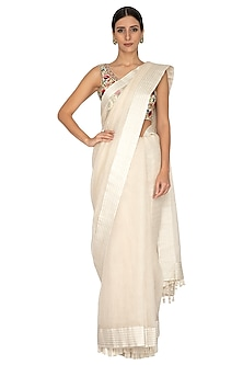 Ivory Embroidered Striped Saree Set by Priyanka Jain