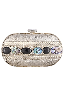 Silver metal embellished capsule clutch bag by PRACCESSORII