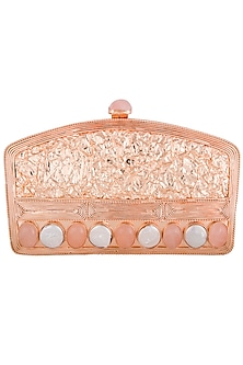 Rose gold metal embellished clutch bag by PRACCESSORII
