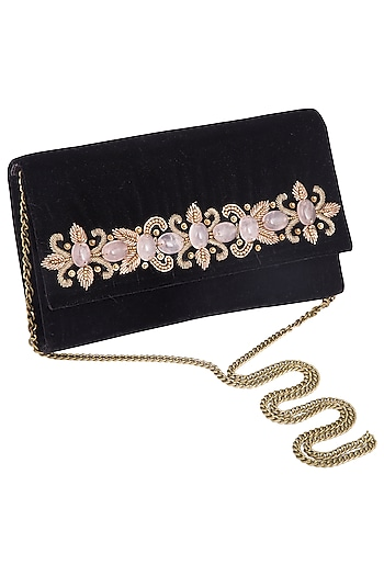 Black embroidered zardosi clutch bag by PRACCESSORII
