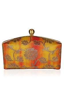 Ombre Yellow and Orange Floral Brocade Rectangular Minaudiere by PRACCESSORII