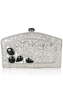 Silver Black Onyx Gemstone Rectangle Semi Circle Minaudiere by PRACCESSORII