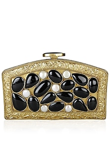 Gold Coin Pearl and Black Onyx Rectangle Semi Circle Minaudiere by PRACCESSORII