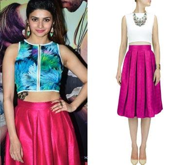 Hot pink pleated midi skirt by Nitya Bajaj