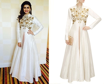 Off white floral embroidered flared jacket kurta with old rose strappy inner by SVA BY SONAM & PARAS MODI