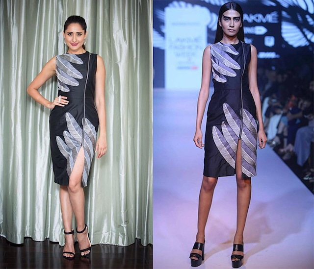 Black raven feathers embroidered dress by Nachiket Barve