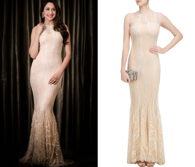 Nude Glitter Trail Gown by Pernia Qureshi