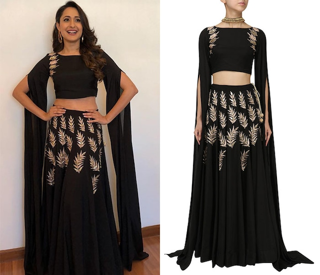 Black Embroidered Cape Sleeves Crop Top and Lehenga Set by Prathyusha Garimella